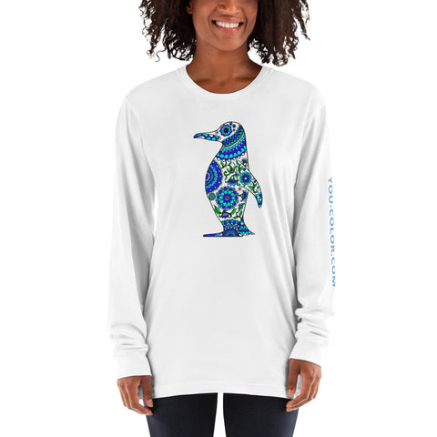 "Blue Mandala Emperor ""Feel Good""Long sleeve t-shirt with You-Color.com - You-Color"