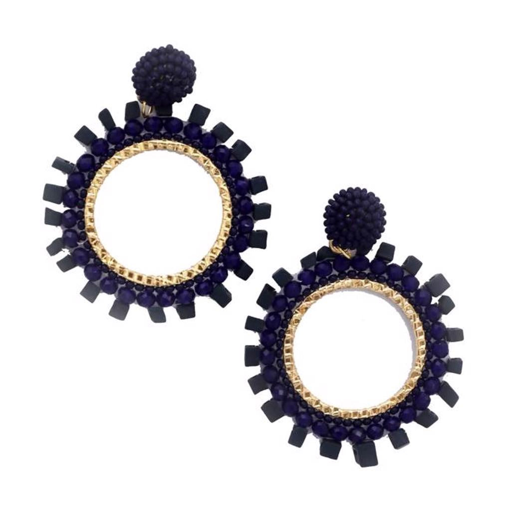 Zoda Navy Bead Circle Earring
