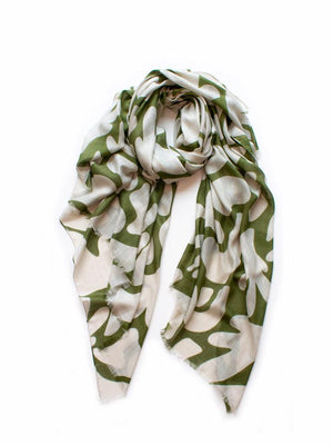 Seascape Scarf Olive & Wheat