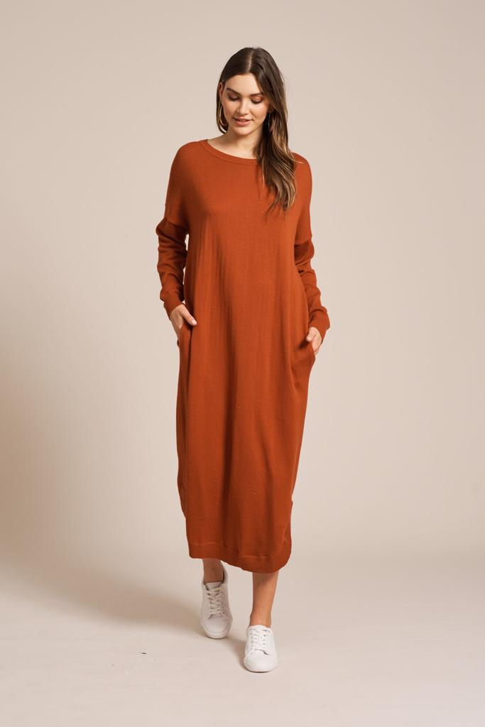 Turia Knit Dress Terracotta