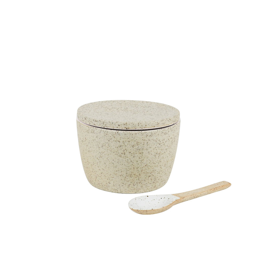 Sugar Pot & Spoon Set White Granite