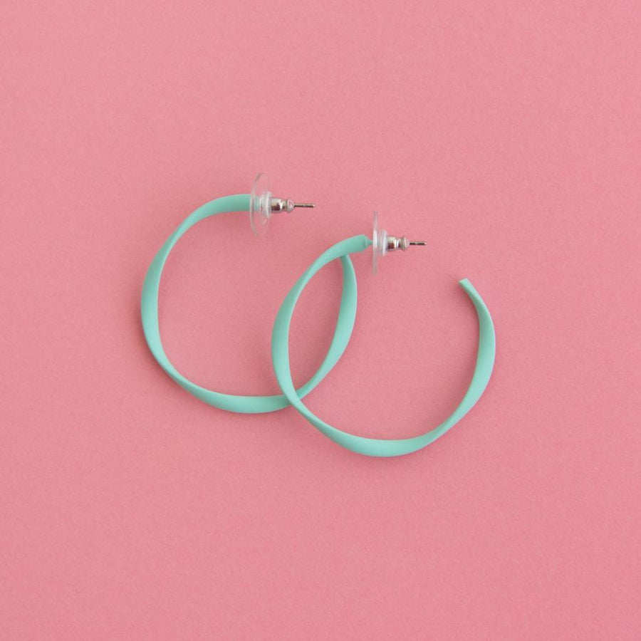 Twisted Midi Hoop Mint Blue