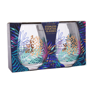 Stemless Glasses Electric Bloom