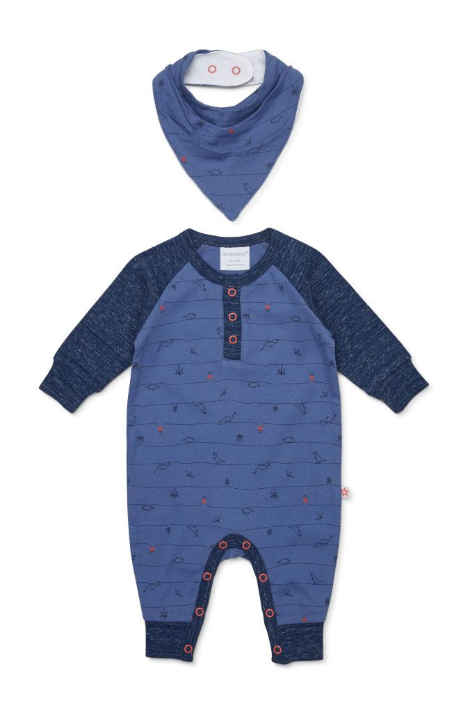 Dinosaur Footless Studsuit & Bib
