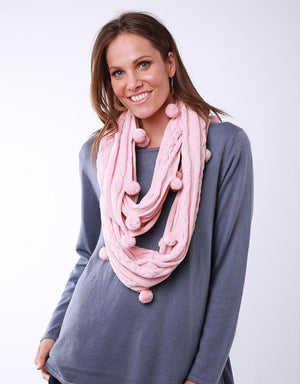 Bobble Loop Scarf Pink