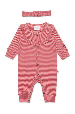 Red & White Striped Footless Studsuit Set