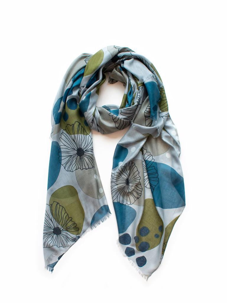 Autumn Scarf Grey, Lagoon & Olive