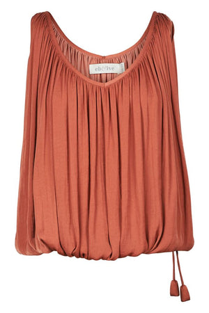Zena Drawstring Top Clay
