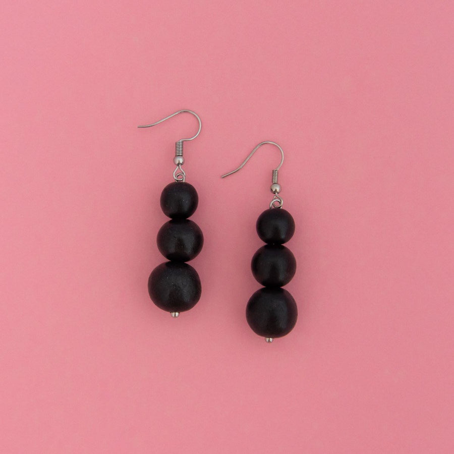 Maasai Drop Earring Black