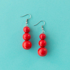 Maasai Drop Earring Red