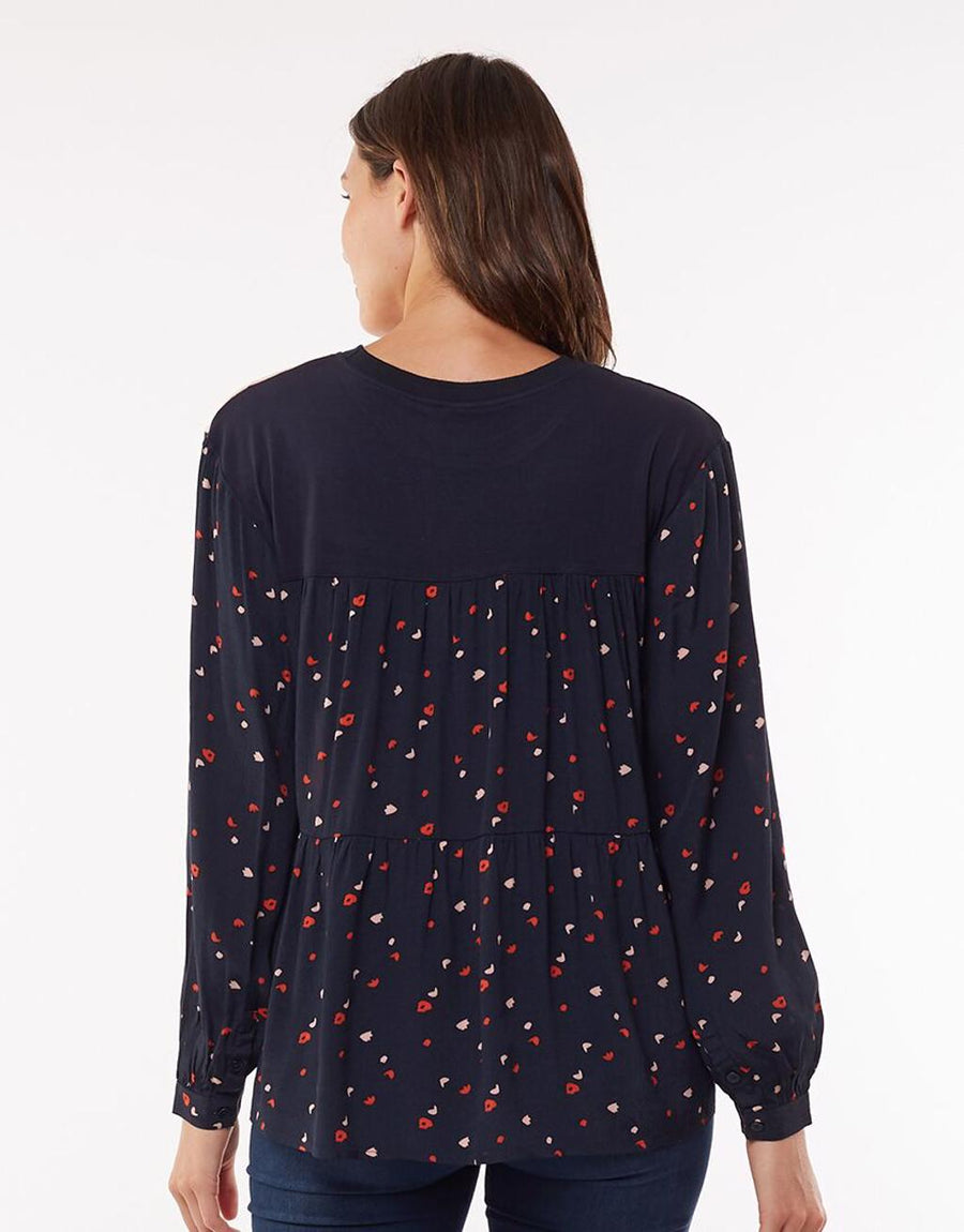 Blossom Mix Top - Navy