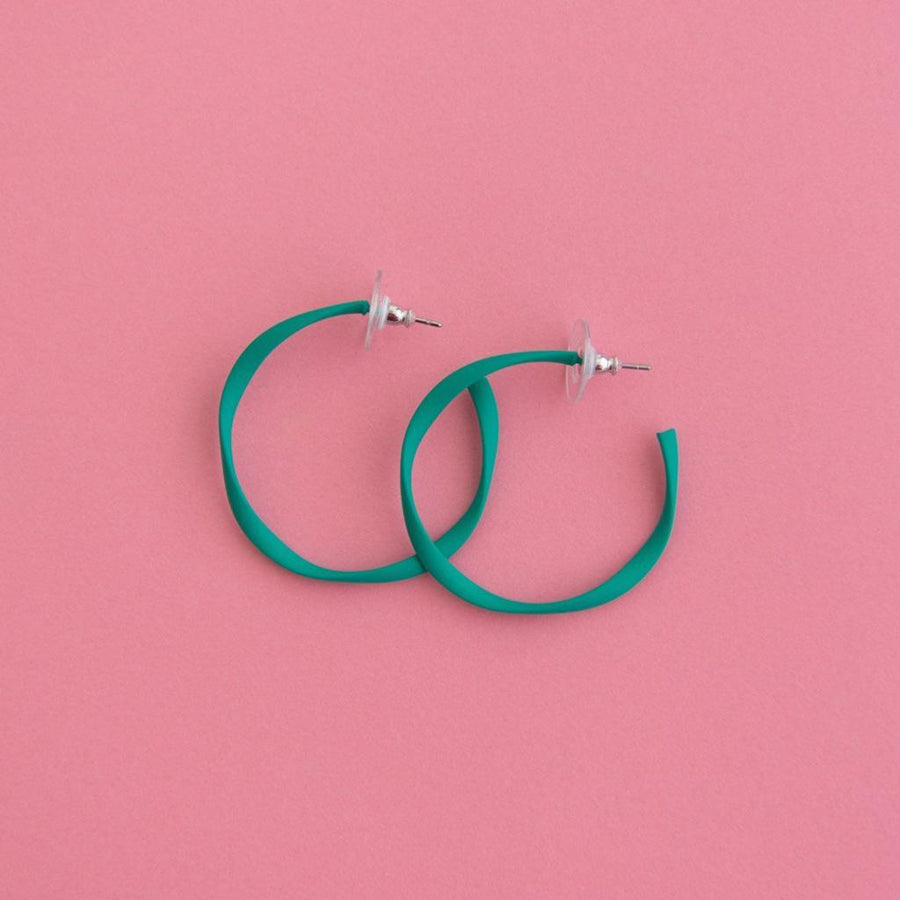 Twisted Midi Hoop Teal