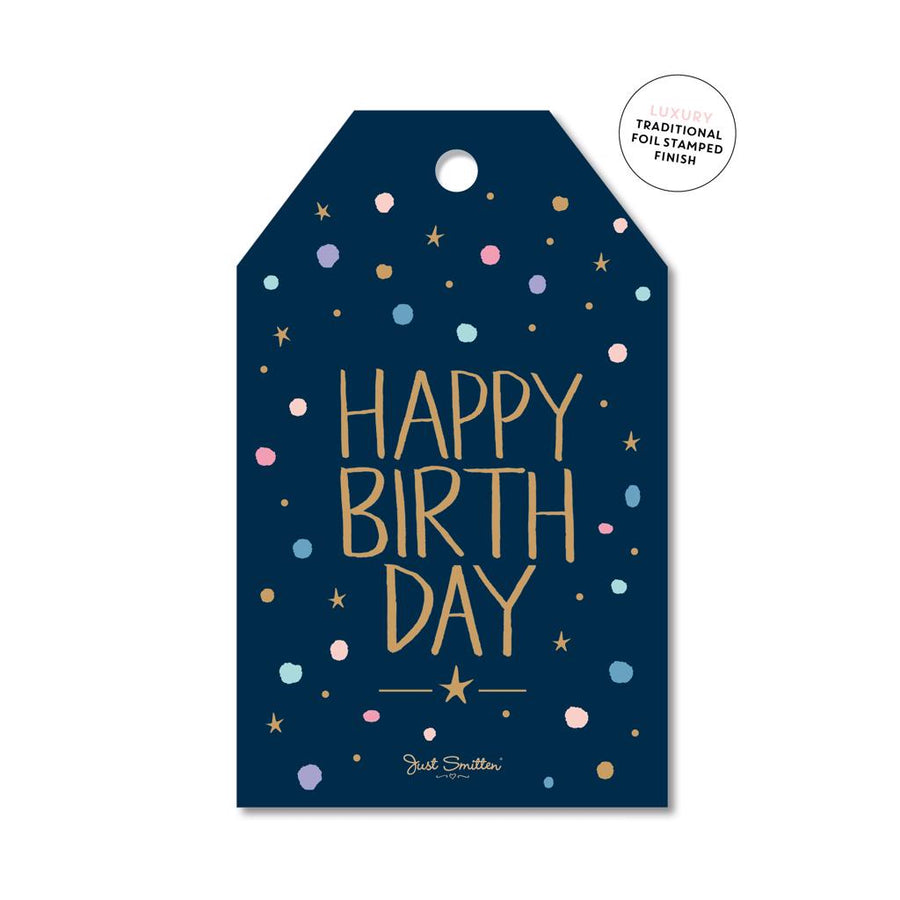 Navy Confetti Birthday Gift Tag