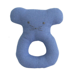 Linen Mouse Ring Rattle - Chambray