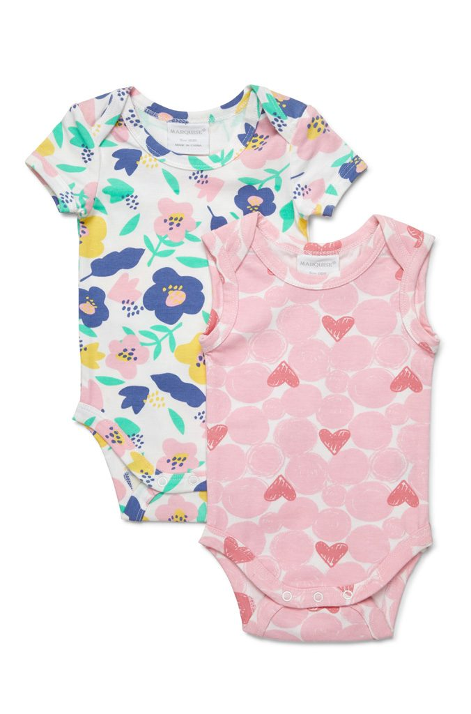 Marquise 2 Pack Bodysuits - Floral & Heart