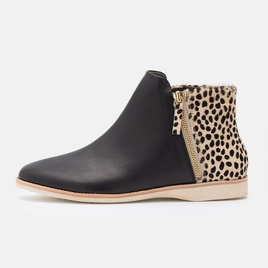 Side Zip Boot Black/Cheetah