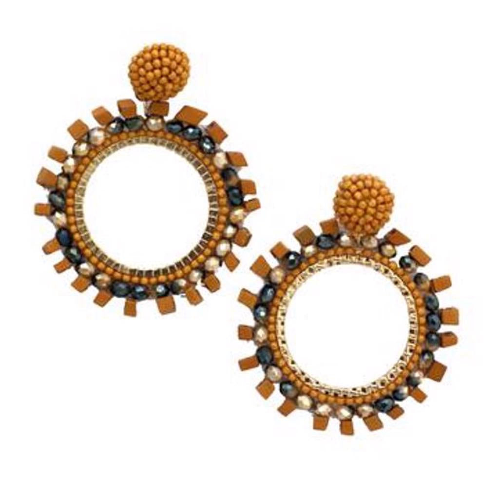 Zoda Mustard Bead Circle Earring