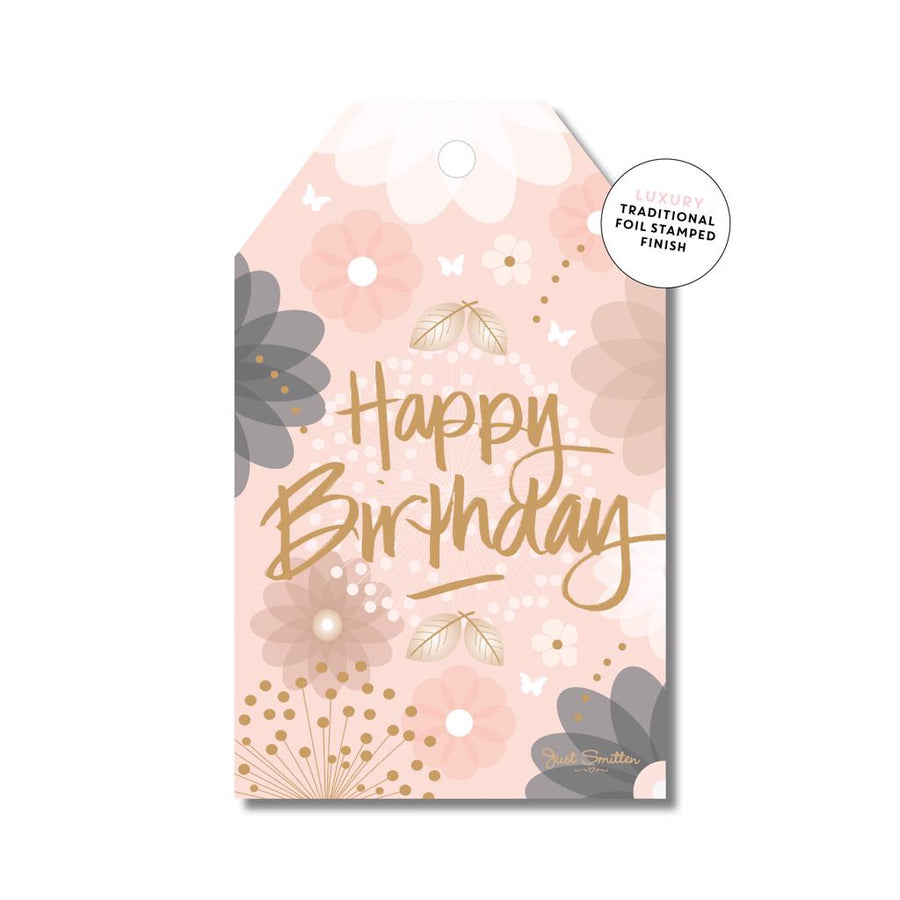 Floral Peachy Birthday Gift Tag