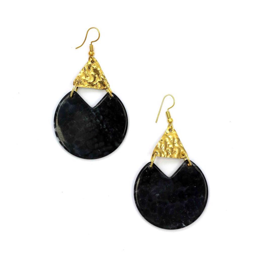 Zoda Black Disc Earring