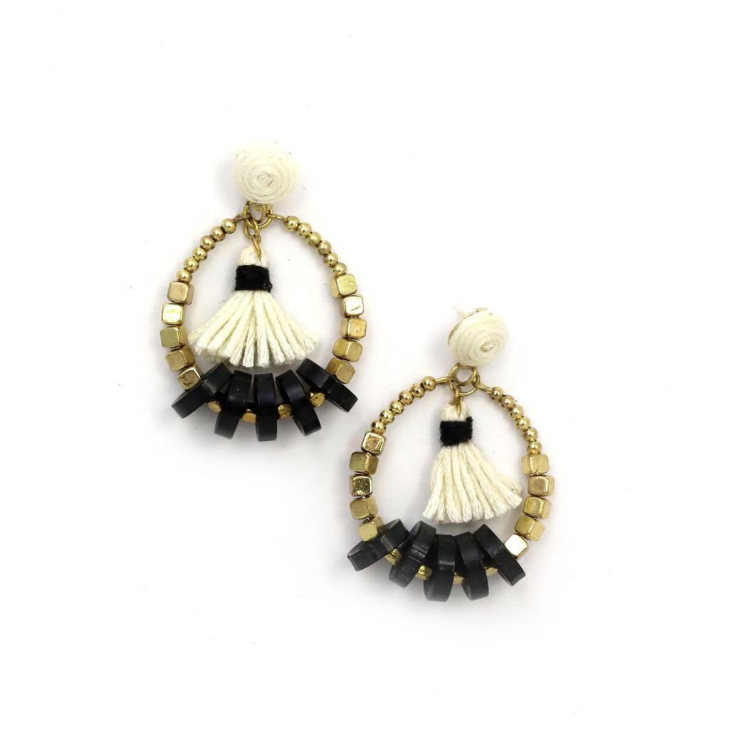 Zoda Black & White Tassel Earring