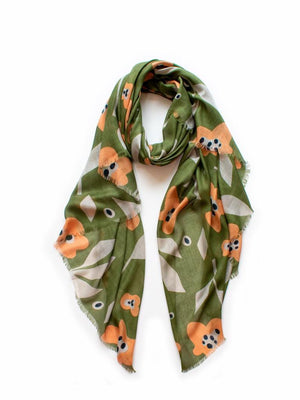 Bloom Scarf Olive & Wheat