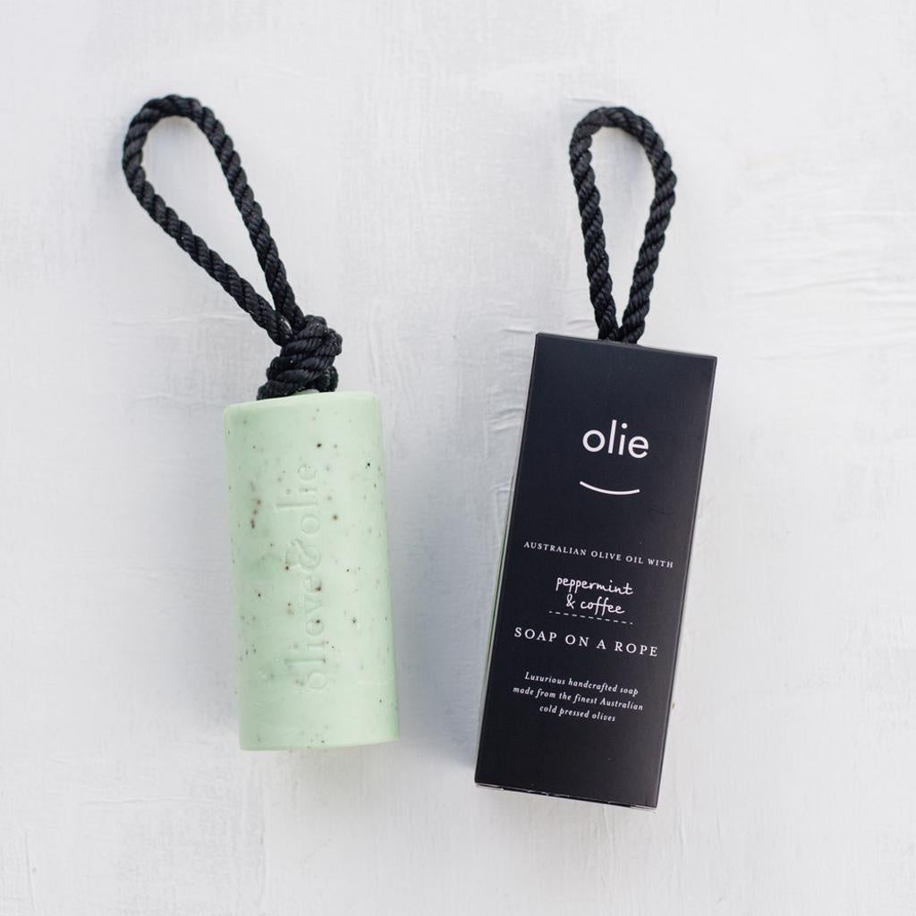 Soap on  a Rope - Peppermint & Coffee