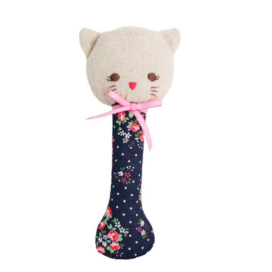 Kitty Stick Rattle - Midnight Floral