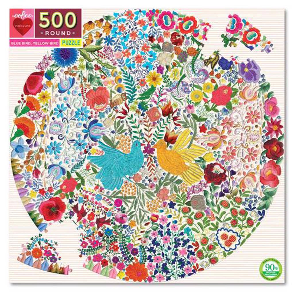 Eeboo 500pc Round Puzzle - Blue Bird