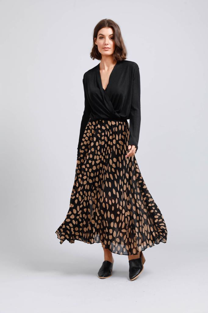 Alias Pleated Skirt Falling Leaf Print