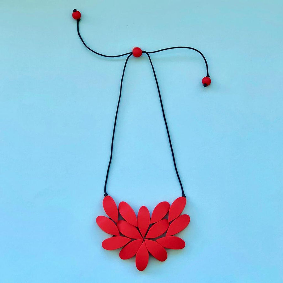 Hibiscus Plain Necklace - Red