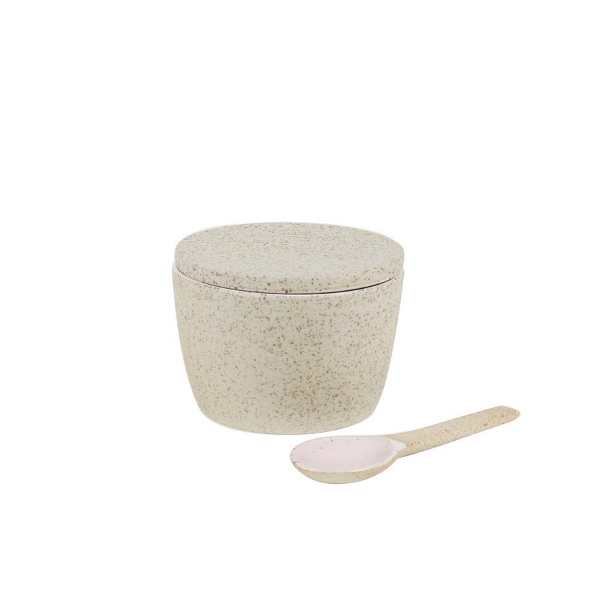 Sugar Pot & Spoon Set Pink Granite