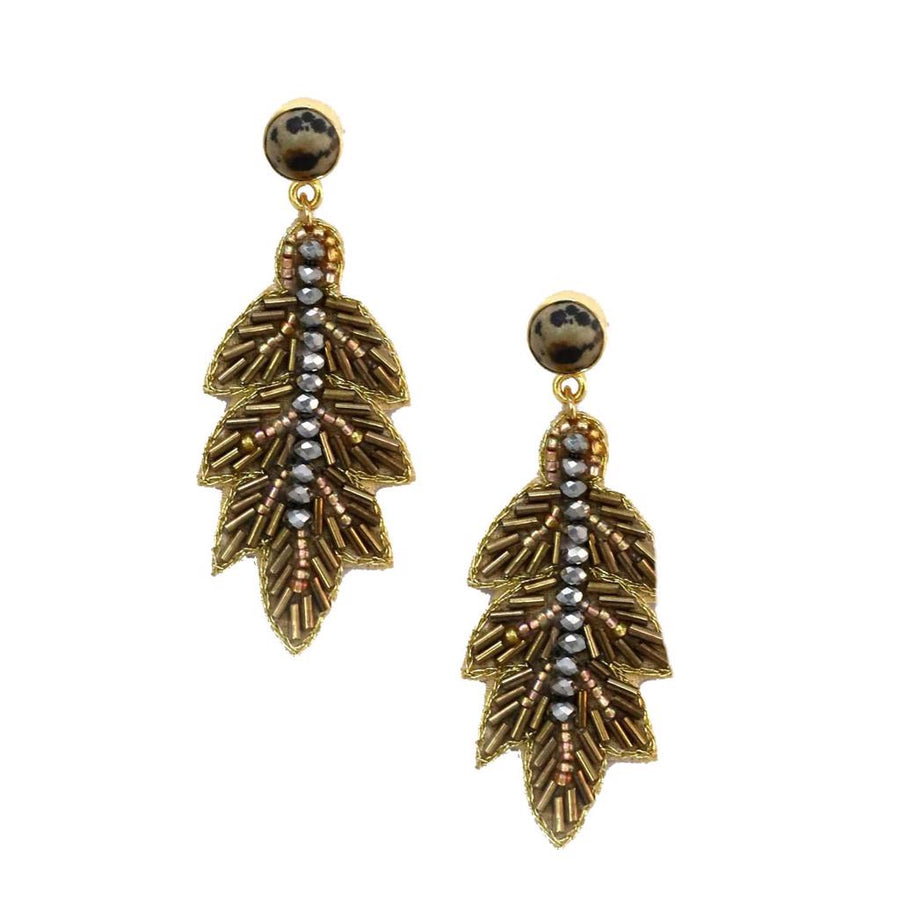 Zoda Beaded Leaf Earring
