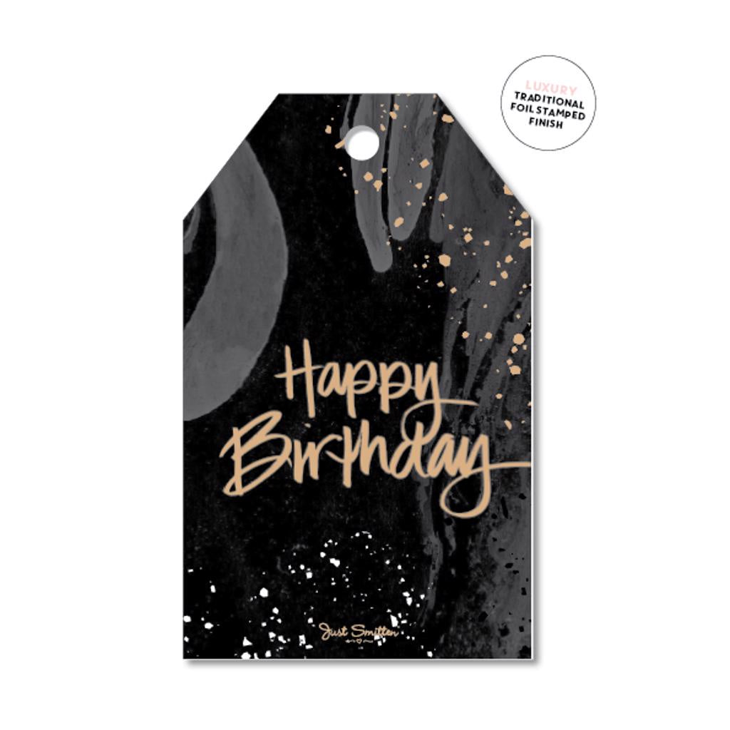 Marble Birthday Gift Tag
