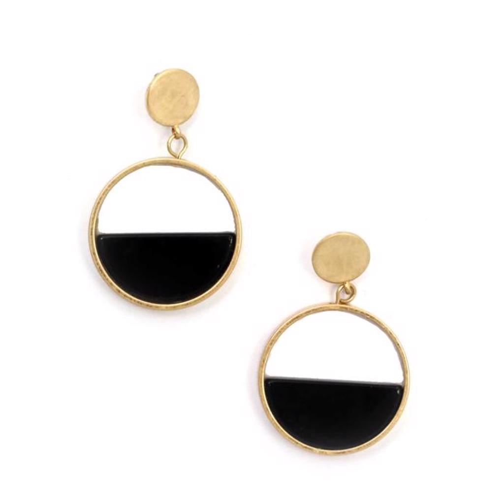 Zoda Gold & Black Acrylic Earring