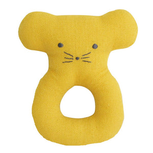 Linen Mouse Ring Rattle - Butterscotch