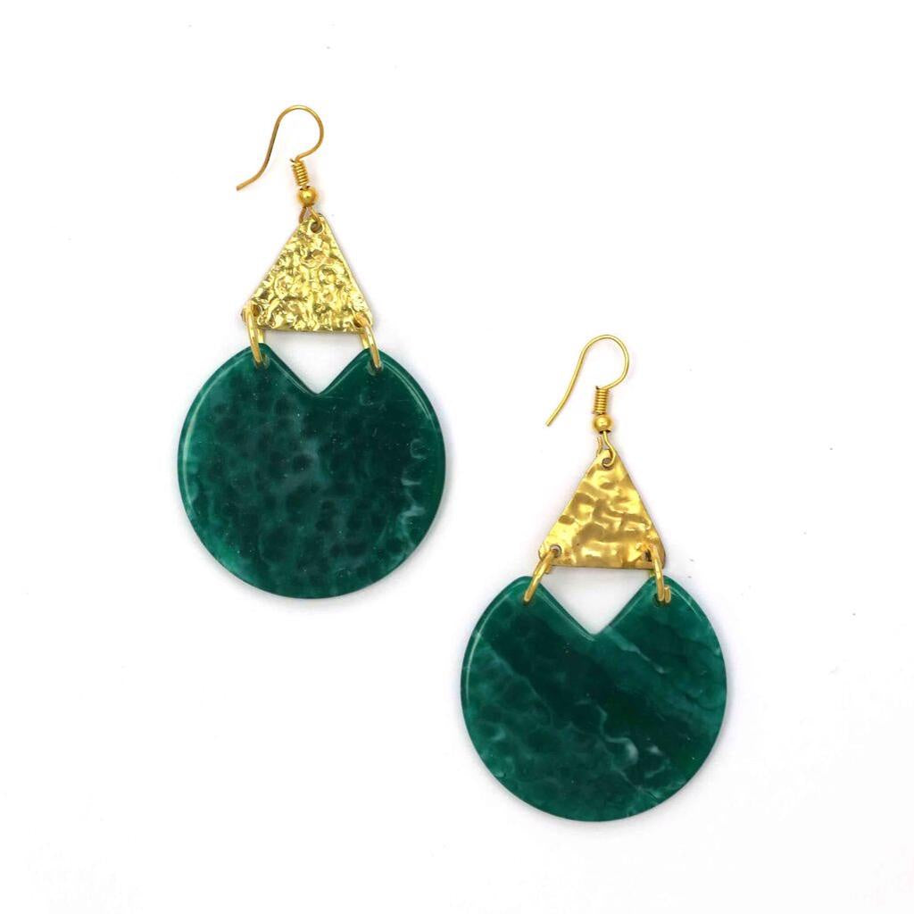 Zoda Emerald Disc Earring