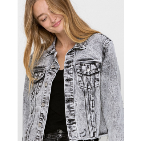 Distressed Black Acid Wash Denim Jacket