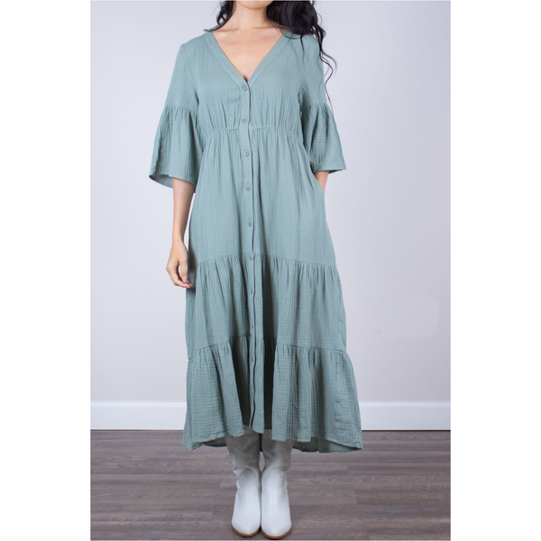 Cotton Gauze Midi Dress