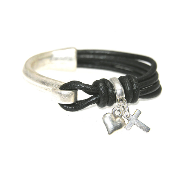 Round Leather Antique Silver Half Cuff With Charms - SPREE