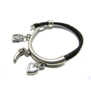 Round Single Leather Antique Silver Thin Charm Cuff - SPREE