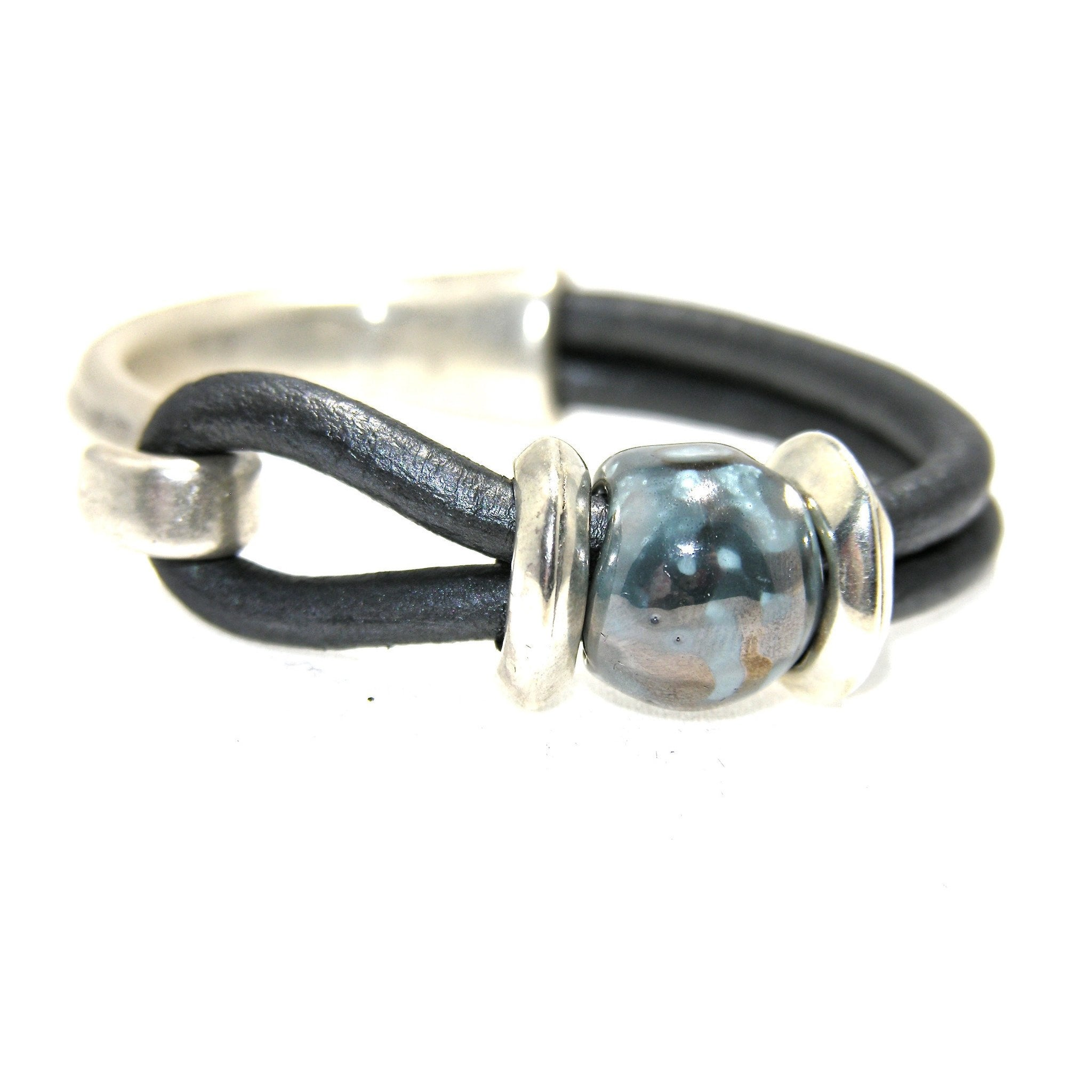 Silver and Leather Ceramic Focal Half Cuff Bracelet - SPREE