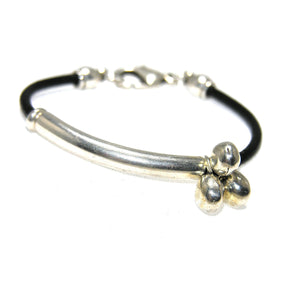 Round Leather Silver Nugget Tube Bracelet - SPREE