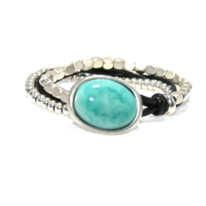 Round Black Leather Square Antique Silver Turquoise Button Bracelet - SPREE