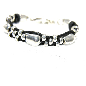 Leather Antique Silver Nugget Rondel Bracelet - SPREE