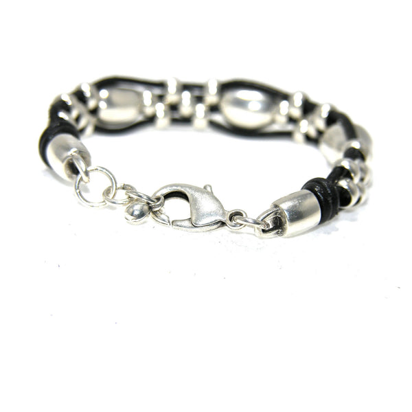 Leather Antique Silver Nugget Rondel Bracelet - SPREE Boutique