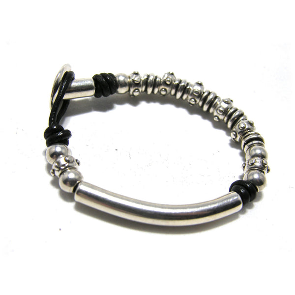 Round Leather Silver Tube Button Bracelet - SPREE