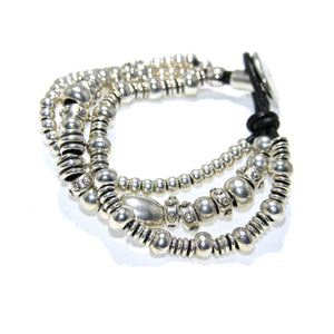 Round Black Leather Multi Cord Antique Silver Irregular Nugget Button Bracelet - SPREE