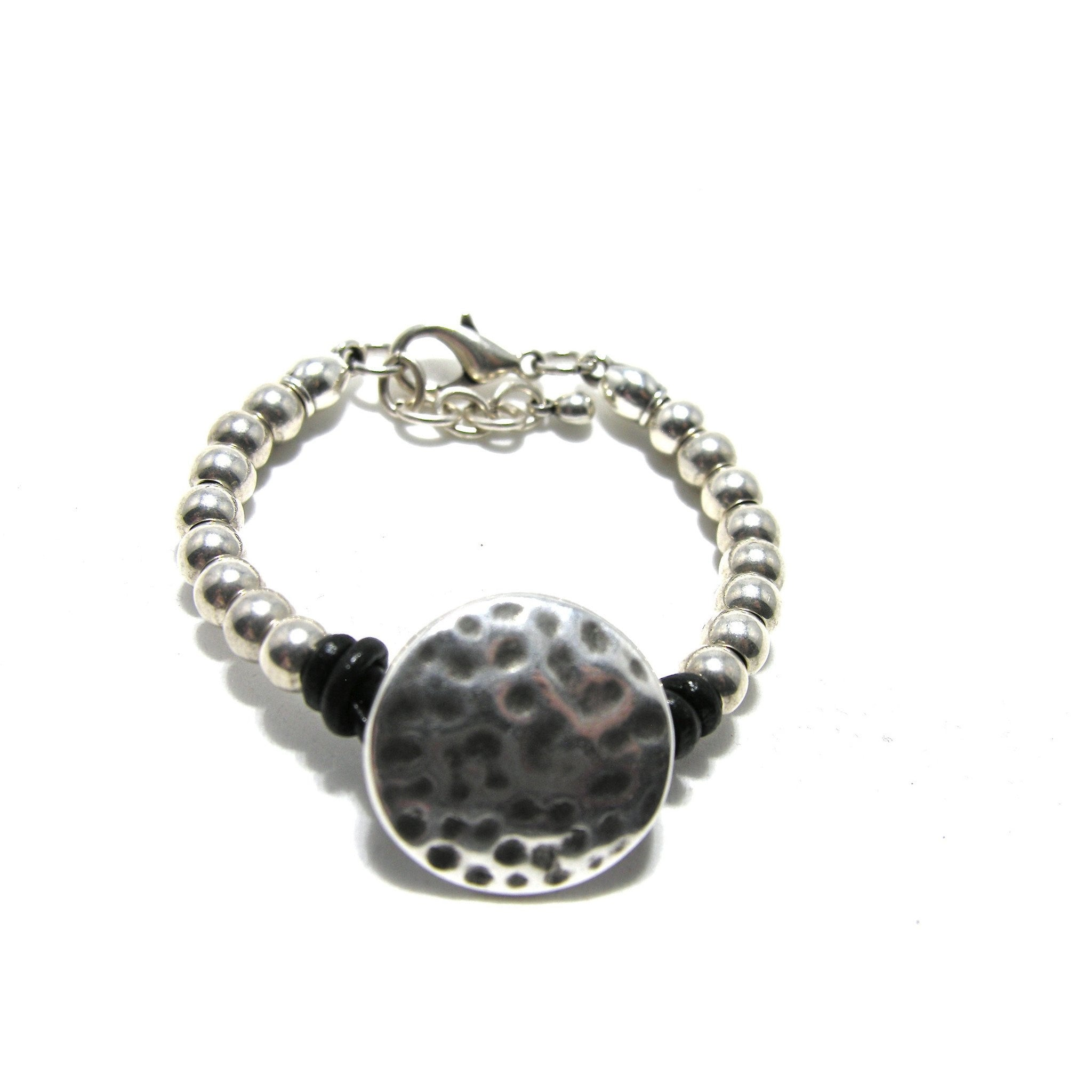 Round Leather Antique Silver Hammered Disc Bracelet - SPREE Boutique