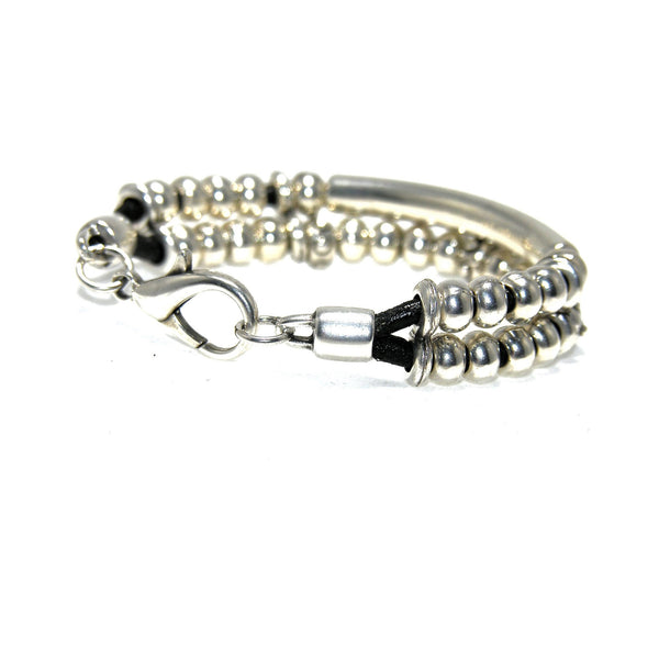Round Black Leather Tube Studded Rondel Bracelet - SPREE