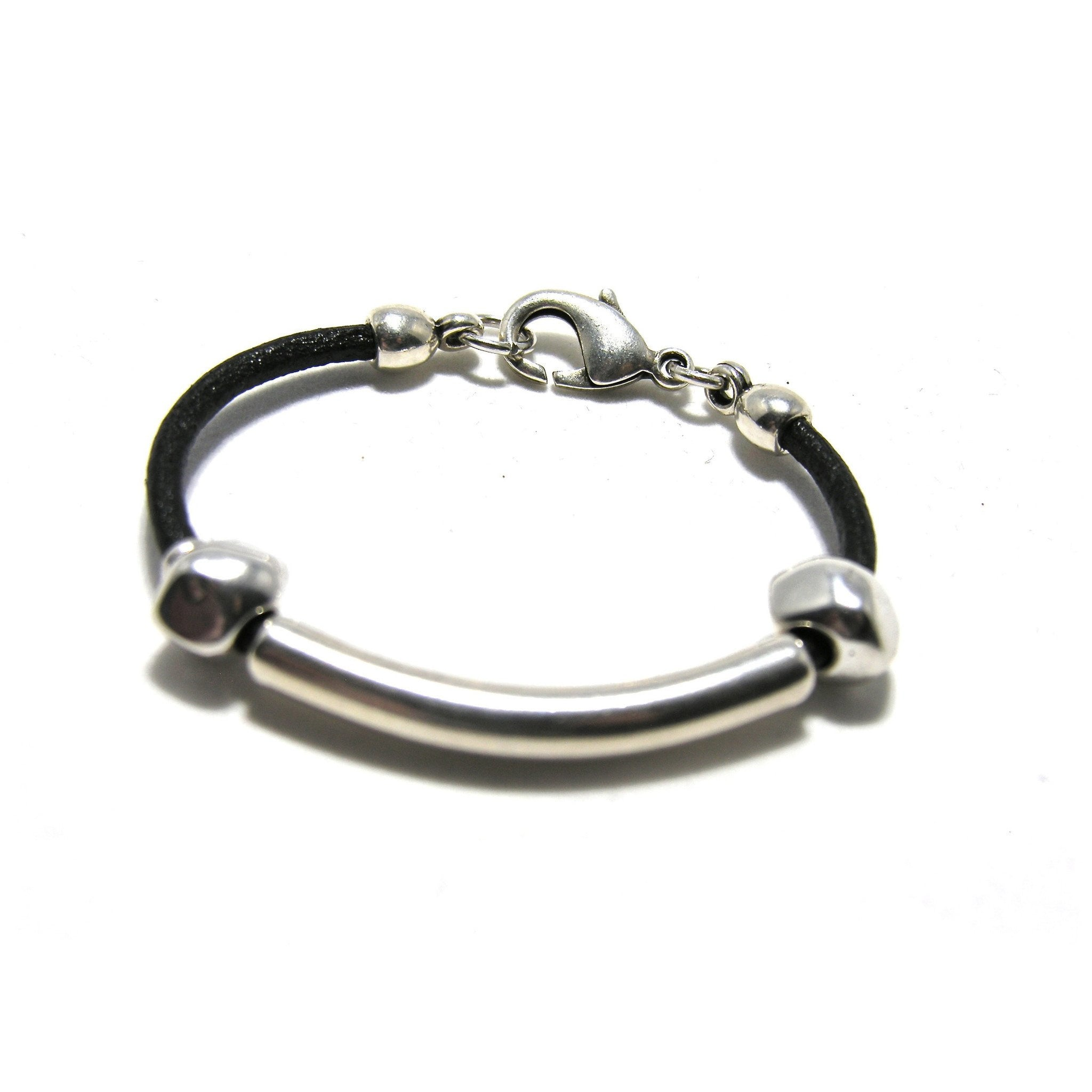 Round Leather Silver Tube Nugget Bracelet - SPREE